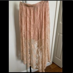 Forever 21 Peach Lace High-Low Skirt